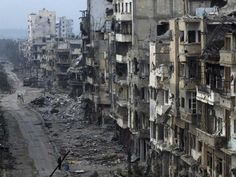 Bomb damaged Syrian buildings.