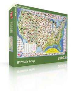 Wildlife Map Americana Jigsaw Puzzle