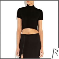 River Island Black Rihanna knot back turtle neck crop top ($53) ❤ liked on Polyvore