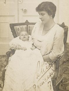1921: Philip soon after his birth with his mother, Alice of Greece. This is the first ever photograph Prince Philip Duke of Edinburgh