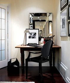 Ideas for small spaces: Beveled mirror + Benjamin Moore 'Mannequin Cream'