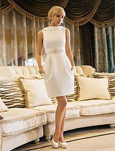 bainha / coluna jóia altura do joelho vestido de noiva de ce... – EUR € 105.10