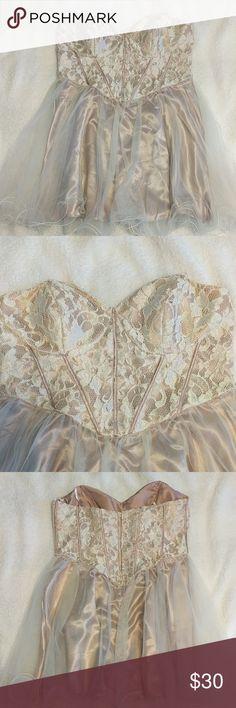 Strapless champagne dress Formal short dress, worn once. Deb Dresses Strapless