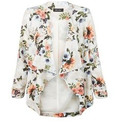New Look Cream Floral Print Waterfall Blazer ($41) ❤ liked on Polyvore featuring outerwear, jackets, blazers, cream, waterfall jacket, cream camisole, floral cami, white camisole and white blazer