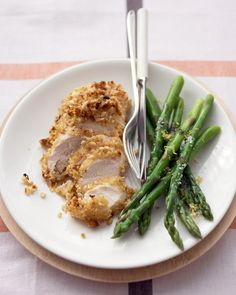 Peanut-Crusted Chicken Breasts  -  Dinner in just 15 minutes! Sandwich bread and peanuts may seem like an unlikely crust for chicken breasts, but our recipe bakes up golden brown in minutes. Serve with buttery asparagus for a medley of flavors and textures.