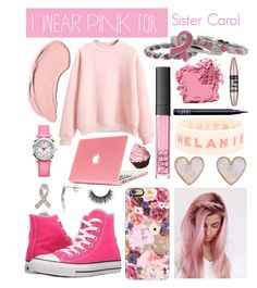 """""""I wear pink for Sister Carol"""" by mcrsarah ❤ liked on Polyvore featuring Converse, NYX, New Look, Casetify, Kim Rogers, NARS Cosmetics, Bobbi Brown Cosmetics, L'Oréal Paris and staystrong"""