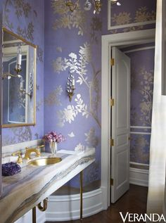 gorgeous powder room; lavender and golds; that granite (I think) counter is to die for... Suzanne Kasler - Veranda