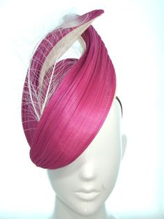 Magenta hat with white peacock feathers - Bonnie Evelyn Millinery