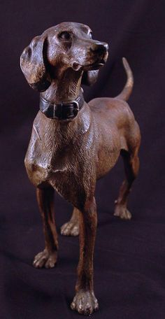 "Very large Vienna Bronze hunting dog with collar. c. 1880.    Size:  9"" H x 11 1/2"" L"