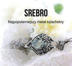 Srebro to najczęściej wykorzystywany metal szlachetny w jubilerstwie (m.in. ze względu na znacznie niższą cenę od złota). Charakteryzuje się ciągliwością i plastycznością i dzięki temu stosunkowo łatwo poddaje się obróbce plastycznej. Jego powierzchnia cechuje się metalicznym połyskiem. Srebro pokrywa się patyną jedynie w kontakcie z siarką oraz jej związkami. Beading Tutorials, Beaded Jewelry, Silver Rings, Beads, Stone, Blog, Diy, Beading, Rock