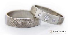 carat center diamond, sparkling accents too setted into white gold. And our signature: your beloved fingerprint. Fingerprint Ring, Cuff Bracelets, Diamonds, White Gold, Sparkle, Nice, Creative, Jewelry, Weddings