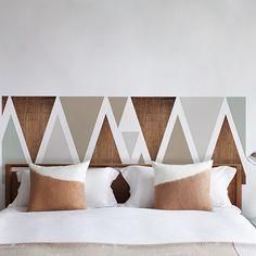 déco scandinave - tête de lit scandinave - mélange matières - bois gris taupe