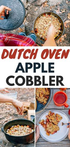 This Dutch Oven Apple Cobbler is a perfect camping dessert that cooks right over the campfire. Camping food | Dutch oven recipes