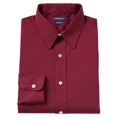 Men's Croft & Barrow® Classic-Fit Solid Broadcloth Point-Collar Dress Shirt, Size: 16.5-34/35, Red