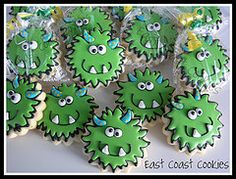 Coastal Cookie Shoppe (was east coast cookies) Fall Cookies, Cookies For Kids, Iced Cookies, Cute Cookies, Cupcake Cookies, Biscuit Cookies, Monster Party, Monster Birthday Parties, Cookie Monster