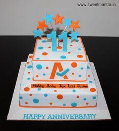 Corporate IT Company Anniversary, Logo theme customized 2 layer designer fondant cake at Pune