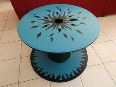 Table basse ronde bobine de chantier réversible