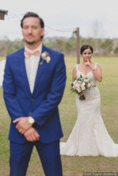 Wedding Photography Poses Cute first look wedding photo - wedding photography inspiration {Scott Trippler Studios} - Wedding Picture Poses, Wedding Poses, Wedding Photoshoot, Wedding Pictures, Wedding Dresses, Wedding Hair, Wedding Ideas, Photo Ideas For Wedding, Wedding Planning