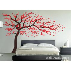 Last Chance Red Cherry Blossom Tree Wall Decal Wall Tree Decal Tree... (125 CAD) ❤ liked on Polyvore featuring home, home decor, wall art, grey, home & living, home décor, wall decals & murals, wall décor, cherry blossom wall art and flower wall decals