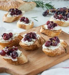 Rosemary Roasted Grapes & Cashew Cheese Crostini - Dishing Up the Dirt
