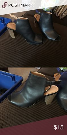 Old Navy peep toe block heel boots Worn once. Ankle strap. Old Navy Shoes Ankle Boots & Booties