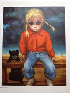 The Wild Cat - Big Eye Girl - Margaret Keane Reproduction Lithograph Print… Big Eyes Margaret Keane, Keane Big Eyes, Margret Keane, Walter Keane, Big Eyes Paintings, Boy Illustration, Illustrations, Eye Pictures, Hawaiian Art