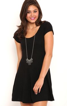 Deb Shops Textured Skater Dress with Cap Sleeves $21.00
