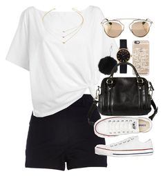 Outfit for summer with a white top and black shorts by ferned on Polyvore featuring polyvore fashion style Red Herring River Island Converse Merona Marc by Marc Jacobs Topshop Forever 21 Christian Dior Casetify women's clothing women's fashion women female woman misses juniors