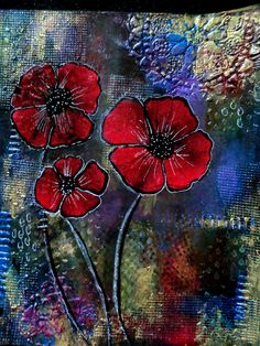POPPIES - MIXED MEDIA ART