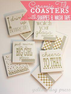 Ceramic Tile Coasters with Sharpies & Washi Tape (diy coasters monogram) Home Design Diy, Creative Design, Tile Projects, Craft Projects, Sewing Projects, Mini Pallet, Azulejos Diy, Diy Tuiles, Diy Photo