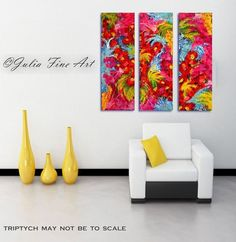 Three Part Painting, Floral Abstract Art, Modern Triptych, Original Hand-painted, Rich Texture, Ready to Hang Paintings by Julia Apostolova