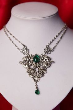 Dragons Necklace with Green Czech Glass Cabochons
