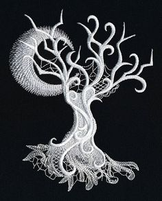 Tree - Ghost Baroque Machine Embroidery Quilt Block Panel by NeedleAndVinylDesign on Etsy Machine Embroidery Quilts, Machine Embroidery Projects, Embroidery Files, Embroidery Applique, Embroidery Stitches, Embroidery Software, Spooky Trees, Spooky Decor, Halloween Embroidery