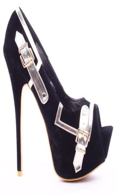Pumps high heels Delicious USA Leder Braun Krokodil Plateau