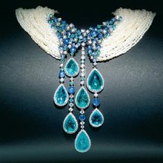 Brunilde-Necklace _ Diamonds, blue sapphires, pearls and Paraiba tourmaline necklace _ Scavia Jewelry.