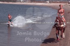 This was my horse trainer,  Stephanie pulling her brother on a water ski.