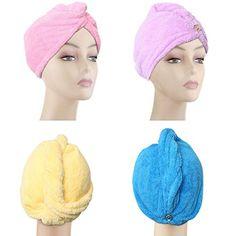 Bath & Shower Beauty & Health beige, Dark Purple, Light Pink, Light Blue Nice 4pcs Microfiber Hair Drying Towels Fast Drying Hair Cap Long Hair Wrap Hair Towel
