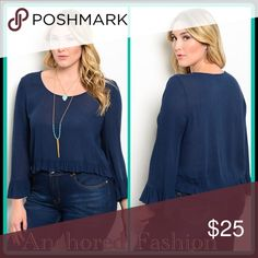 ➕Navy Ruffle Navy blue top 100% Rayon Tops Blouses