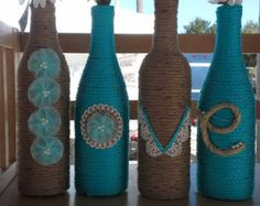 Upcycled bottles FAITH wrapped in jute, rope, and yarn with lace and button…