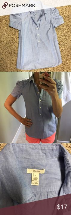Jcrew button down shirt Jcrew shirt in great condition! Only worn a couple times. Adorable sleeves. Looks great tucked in and also let out paired with shorts, pants or skirts! J. Crew Tops Button Down Shirts