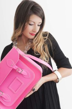 Backstage dress, Swans, Cranbrook     Fluorescent pink satchel, @Matty Chuah Cambridge Satchel Company