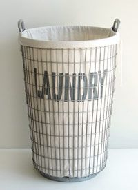 Decorative Laundry Hamper Held Upan Industrialchic Wire Frame The Lining Of The Linen