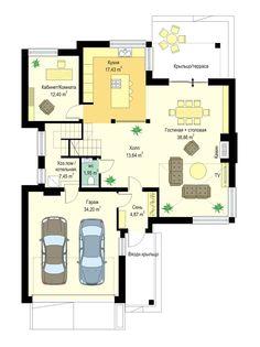 Светлый двухэтажный коттедж с большим гаражом и террасой S8-240-2 (Ривьера 5). План 1. Shop-project Dream House Plans, House Floor Plans, House Design Pictures, Floor Layout, Photo Projects, Architecture Design, New Homes, Exterior, Flooring