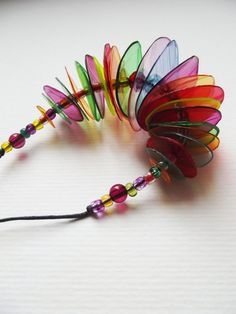 Colourful plastic necklaces. Sustainable jewelry. by Gurgulche