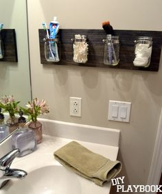 Bourbon Bottle Soap Dispenser + Wall Mounted Mason Jars