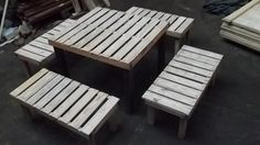 table and benches from wooden crates