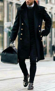 Black overcoat, weekender bag