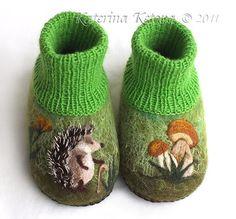 """For newborns, handmade. Fair Masters - handmade Felted booties """"hedgehog mushroom."""" Handmade."""