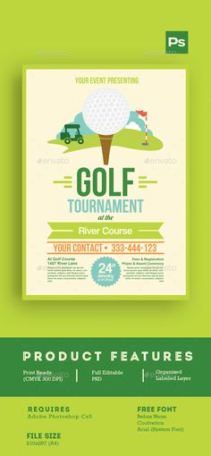 Golf Tournament Flyer Template PSD #design Download: http://graphicriver.net/item/golf-tournament-flyer-tamplate/14378378?ref=ksioks