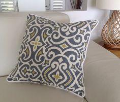 Damask Print grijs citroen ivoor kussen decoratieve Scatter Cushion kussen. Blauw, Aqua, ivoor Scatter kussens